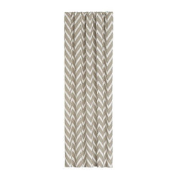 Teramo 50x96 Curtain Panel - A dynamic zigzag juxtaposes ivory sateen against a neutral silk blend background. Jacquard-woven, lined panels feature both rod pockets and back tabs that create the look of pleats. Curtain accessories also available.