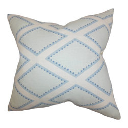 """The Pillow Collection - Alaric Geometric Pillow Chambray 18"""" x 18"""" - Embroidered with a unique geometric pattern, this accent pillow makes a great addition to your home. Transform your bed, sofa or couch with this clean and sleek-looking decor pillow. Combine with solids and other patterns for an unconventional decor style. Constructed with 100% soft and durable linen fabric. Hidden zipper closure for easy cover removal.  Knife edge finish on all four sides.  Reversible pillow with the same fabric on the back side.  Spot cleaning suggested."""