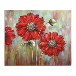 Grace Feyock - Grace Feyock Shining Stars Transitional Wall Art X-95243 - This vibrant, hand painted artwork on canvas is accented with painted stones applied to the center of the flowers creating a 3-dimensional effect. The artwork has a high gloss finish. The canvas is stretched and applied to wooden stretching bars. Due to the handcrafted nature of this artwork, each piece may have subtle differences.