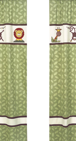 Sweet Jojo Designs - Jungle Time Green Leaf Print Window Panels (Set of 2) - The Jungle Time window curtain panel set (2 panels) will help complete the look of your Sweet Jojo Designs room. These window treatments instantly change the look and feel of any room, adding layers of warmth and style. Each of the 2 panels measures 42in. x 84in.