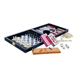 Trademark Games Travel Multi Game Set in Leather/Vinyl Case - You'll never be without something to do with the Trademark Games Travel Multi Game Set in Leather/Vinyl Case. With seven different gaming options in one convenient set, there's certain to be something for everyone. The game surface also lifts off so you can store the pieces underneath. Includes chess, checkers, backgammon, cribbage, dominoes, playing cards, and poker dice.About Trademark Global Inc.Located in Lorain, Ohio, Trademark Global offers a vast selection of items for your home and lifestyle. Whether you need automotive products, collectibles, electronics, general merchandise, home and garden items, home decor, house wares, outdoor supplies, sporting goods, tools, or toys, Trademark Global has it at a price you can afford. Decor items and so much more are the hallmark of this company.