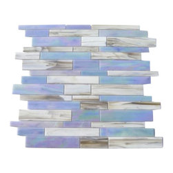 "GlassTileStore - Matchstix Kismet Glass Tile - Matchstix Kismet Glass Tile             This stunning mosaic is handcrafted in stained glass. With the mixture of white and gray and an iridescent coating of shades of blue and pink, this glass tile will give a luminescent quality to any bathroom, kitchen or pool installation. Add a pop to any room with these beautiful tiles that are versatile.         Chip Size: Random   Color: White with a hint of Gray and Shade of Iridescent Blue and Pink   Material: Glass   Finish: Stained   Sold by the Sheet- each sheet measures 10 1/2"" x 10 3/4"" (0.78 sq. ft.)   Thickness: 1/8""   Please note each lot will vary from the next.            - Glass Tile -"