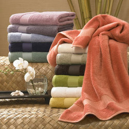 Grandin Road - Cotton and Bamboo Rayon Six-piece Towel Set - Extra soft, absorbent, lightweight and smooth cotton blend bath towel set. Set includes two of each size: bath towel, hand towel, wash cloth. Made in Turkey from 60% combed Egyptian cotton and 40% rayon from bamboo. 650 GSM weight. Machine wash, cold; to preserve color, do not bleach and avoid cleansers that contain Benzoyl Peroxide. Create your own spa-like retreat at home with towels made from the perfect mix of ultra soft Egyptian cotton and impressively absorbent bamboo rayon. Each piece of the set weighs 650 grams per square meter and features the lasting softness of fine cotton, along with the smooth and lightweight qualities of rayon made from bamboo. Select from a range of nature-inspired colors and stock up the guest and master baths.. . . . . Dry on low-medium heat. Imported.