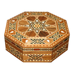 MBW Furniture - Syrian Walnut Octagonal Mother of Pearl Mosaic Jewelry Box - Walnut  Hand Made CraftsmanshipBurgundy Felt InteriorBurgundy & White Braided Trim Genuine Mother of Pearl Inlay  Strong and Sturdy Handcrafted, Not Mass ProducedThis is a very beautiful octagonal shaped jewelry box made in Syria with hand inlaid mosaic work accented with real mother of pearl. The interior has a burgundy felt-like liner (much more burgundy than these pictures show) and a burgundy and white braided trim along the top edge. This is a gorgeous jewelry box, absolutely a rariety in the world of Syrian style collectibles. One very seldom sees a box shaped liked this. There is no doubt that this piece will add just the right touch to your collection!