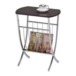 None - Walnut Chrome Sofa Chairside End Table/ Magazine Rack - This functional side table has a beautiful walnut wood finish and chrome rack with lower shelf storage. The living space accent piece is ideal for use as a phone table,lamp table,decorative display table or store magazines.