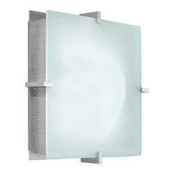 """Sonneman - Sonneman Handkerchief Square Silver 11"""" ADA Wall Sconce - The squared framing elements look great with the perforated sides and linear design. The square of glass looks clean and modern and is complemented by subtle metal elements. Satin silver finish. Etched square glass. ADA compliant. Takes two 60 watt candelabra bulbs (not included). Wall plate is 9"""" square. 11"""" square. Extends 4"""" from wall.  Satin silver finish.  Etched square glass.  ADA compliant wall sconce.  Takes two 60 watt candelabra bulbs (not included).   Wall plate is 9"""" square.  11"""" square.  Extends 4"""" from wall."""