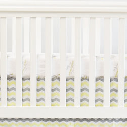Oliver B - Oliver B Chevron Crib Skirt - Everyday will be a happy day when your baby wakes up to the bright, bold graphics of this chevron-print crib skirt. Made with 100 percent cotton fabric, it features gender-neutral gray stripes accented by the color of your choice. Creating a stylish crib ensemble was never so easy.