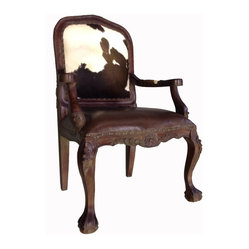 Cowhide Chairs - This is just a beautiful chair made out of solid mahogany wood and real cowhide upholstered back with a dark brown top grain distressed leather seat.  The reclaimed distressed wood has markings, nicks, etc.  to add to the beauty of this great chair.