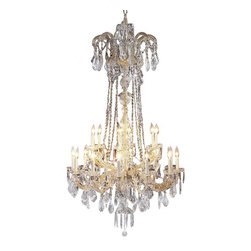 """The Gallery - Swarovski crystalrimmed chandelier - New! Maria Theresa chandelier Crystalig - This beautiful chandelier is trimmed with Sprectra crystal reliable crystal by Swarovski. Swarovski is the world's leading manufacturer of high quality crystal. Sprectra crystal Swarovski undergoes stringent quality control and offers the best crystal uniformity of sparkle, light reflection and Sprectral colors. Maria Theresa 100% crystal chandelier. A Great European Tradition. Nothing is quite as elegant as the fine crystal chandeliers that gave sparkle to brilliant evenings at palaces and manor houses across Europe. This exquisite version from the Maria Theresa collection is decorated with various hand-cut and polished 100% crystal that captures and reflects the light of the candle bulbs, each resting in a scalloped bobache. The timeless elegance of this chandelier is sure to lend a special atmosphere in every home. Please note this item requires assembly. This item comes with 18 inches of chain. H60"""" W33"""" 18 lights Lightbulbs not included"""
