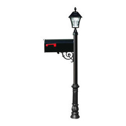 Qualarc, Inc. - Lewiston Post (Black) with Economy #1 Mailbox, Ornate Base, Black Solar Lamp - Lewiston Post / Economy #1 Mailbox comes with support brace and fluted base in black color. Black Economy #1 Mailbox is made of galvanized metal. Post, support brace and ornate base are made of rust-free cast aluminum with a weather resistant finish. The Bayview Solar Lamp mounts to the top of the post and features a classic gas-light design with real beveled glass panes. With our super-bright LED's and patented cone reflector technology, guests will easily spot your address at night. Using efficient solar-powered technology, the Bayview charges by day and automatically turns on at night. No wiring is needed. And with a weather-resistant powder-coated cast aluminum frame, no maintenance is required. (Solar lamp available in color black only)