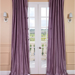 Smoky Plum Vintage Faux Dupioni Silk Curtain Panel - Do you have gray walls? What could be more luxe than plum silk drapes? These ones are very affordable. And you can sew in rings for a more upscale designer look.