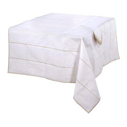 Settings By Mona - Mod Sand/White Organdy Tablecloth - This Exquisite Mod Sand/White Cotton Organdy Tablecloth features a Modern yet sophisticated design. It's handsomely tailored to bring Rich Decor to any table setting.The Crispy pintucks on the Sheer Organdy creates a most dramatic effect to the fine design.          *Available in Different Sizes    *Machine Washable