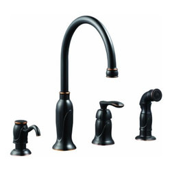 DHI-Corp - Madison Kitchen Faucet with Sprayer and Soap Dispenser, Oil Rubbed Bronze - The Design House 525790 Madison Kitchen Faucet with Sprayer and Soap Dispenser features a dual handle design with a 46-inch soft hose external side sprayer which eliminates baked on residue and rinses dishes and silverware clean of food and grime in hard to reach areas. Insert your favorite dish or hand soap in the included side soap dispenser for quick, easy access when cooking or cleaning. Finished in sleek oil rubbed bronze, this faucet set is refined and elegant with a ceramic cartridge and brass waterways. The brass waterways contain zinc and copper which are known to prevent antimicrobial growth ensuring safe and clean water for your family. This faucet has a rustic shabby chic design, meshing modern construction with vintage aesthetics contributing to the comfort and style of any kitchen. The 1.5-gallon per minute flow rate ensures a steady water flow after years of everyday use and is UPC, Ab-1953 and cup compliant. Wash dishes or fill pitchers with ease underneath this high vaulted faucet. With a quick connect system, this product adheres to industry leading practices and standards. The Design House 525790 Madison Kitchen Faucet with Sprayer and Soap Dispenser comes with a lifetime limited warranty that protects against defects in materials and workmanship. Design House offers products in multiple home decor categories including lighting, ceiling fans, hardware and plumbing products. With years of hands-on experience, Design House understands every aspect of the home decor industry, and devotes itself to providing quality products across the home decor spectrum. Providing value to their customers, Design House uses industry leading merchandising solutions and innovative programs. Design House is committed to providing high quality products for your home improvement projects.