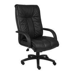 """Boss Chairs - Boss Chairs Boss Italian Leather High Back Executive Chair - Italian executive leather chair. Beautifully upholstered with imported Italian top grain Leather. Executive High Back styling with extra lumbar support. Pneumatic gas lift seat height adjustment. Adjustable tilt tension control. Upright locking position. Leather upholstered armrests. Large 27"""" nylon base for greater stability. Hooded double wheel casters. Optional knee-tilt mechanism available model (B9302). Matching guest chair model (B9309)."""