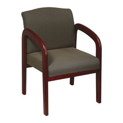 Office Star - Work Smart WD Collection WD387-316 Cherry Finish Wood Visitor Chair - Cherry finish wood visitor chair. Thick padded seat and back with built-in lumbar support. Cherry wood base and arms. Taupe fabric