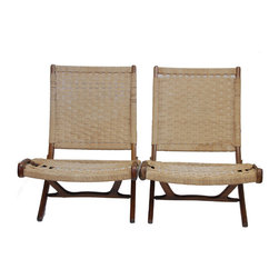 Hans Wegner - Consigned Rare Pair of Hans Wegner Style Folding Lounge Mid Century Chairs - Great pair of Hans Wegner inspired teak framed folding chairs with woven rush seats.