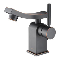 Kraus - Kraus KEF-14301BN Unicus Single Lever Basin Faucet, Oil Rubbed Bronze, 6.1 X 3.6 - One of a kind design, sleek lines in a bright polished chrome appearance brings an implied look to any bathroom decor