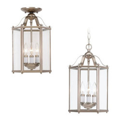 Sea Gull Lighting - Sea Gull Lighting-5231-962-Three-light Hall Foyer - Three Light Convertible Hall Fixture Finished in Brushed Nickel with Clear Glass Panes All Around. Three Light Hall Fixture Finished in Oxford Bronze with Clear Glass Panels all around.