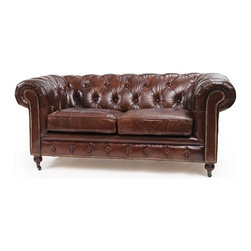 Go Home - London Chesterfield Sofa - London Chesterfield Sofa with vintage leather