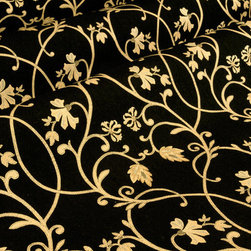 Cravin Upholstery in Midnight - Cravin Discount Designer Upholstery Fabric in Midnight Black Floral Pattern. This Italian made fabric is perfect for upholstering sofas &  chairs, or drapery and would make excellent accent pillows.  With a width of 54″ this 100% Spun Viscose fabric has a repeat of Vertical – 24.375 inches and Horizontal – 13.750 inches. Cleaning Code S-SOLVENT BASED CLEANER. Dry Clean Only.