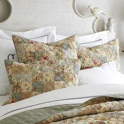 Ballard Designs - Caroline Quilt - Coordinates with our Caroline Multi Quilted Sham. Layers well with our Amelie Bedding Collection. 220-gram cotton fill. Machine washable. Inspired by a classic postage stamp quilt, our Caroline Multi Quilt is designed to work with our latest bedding collections to layer in vintage warmth. The hand finished patchwork is made from specially selected vintage inspired cotton fabrics with a solid cotton reverse in spa. Caroline Multi Quilt features:  . . . .