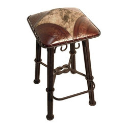 """New World Trading - Western Iron Barstool (Set of 2) - Features: -Color: Antique Brown. -Material: Wrought iron. -Hand tooled leather. -Nailheads. -Made by artisans. -Saddle leather. -Made 1 at a time. -Original designs. -Reviving an ancient art. Specifications: -Bar H: 30"""". -Counter H: 26""""."""