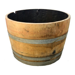 Real Wood Products Oak Wood Outdoor Planter - A big half barrel adds rustic charm and can hold lots of plants or a small tree.