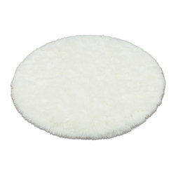 Walk on Me - Snowy White Polar Bear Faux Fur Round Rug - Sheepskin Round - Snowy softness - perfect size for accent - beautiful drape - natural white - machine washable, hypoallergenic, non-slip - long pile - Made in France