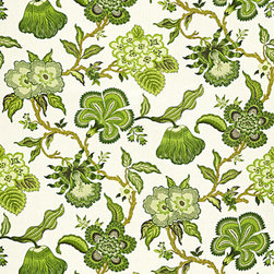 Hothouse Flowers - This classic tree of life pattern was inspired by the details found in tropical botanical forms, and this new interpretation gives a new twist and a very modern take on this traditional type of design. Dramatic in scale, this all linen print combines stylized exotic motifs with a bold and current color palette that complements the wovens in Celerie's collection.
