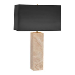 Robert Abbey - Robert Abbey Wilma Rectangular Black Painted Opaque Parchment Shade Table Lamp 1 - Rectangular Black Painted Opaque Parchment Shade w/ Matte Gold Lining