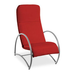 HomeCrest - Homecrest Cirque Cushion Chat Chair (ZMT-HMC9257) - The Homecrest Cirque cushion chat red patio chair features a comfortable design. This innovative chat chair features a style that will add a modern style to any outdoor environment. The Homecrest Cirque patio furniture collection features an aluminum frame with soft curves and a padded cushion that can be removed with hidden button snaps. Enjoy the outdoors in this chair that was designed for superior comfort and style. Features: