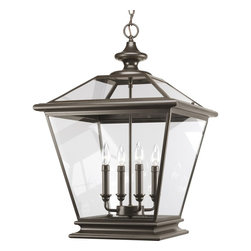 Thomasville Lighting - Thomasville Lighting Crestwood Transitional Outdoor Hanging Light X-02-4093P - Decorate with this Thomasville Lighting Crestwood transitional outdoor hanging light in a space with a contemporary or traditional style. It features clear beveled glass panels that are framed in metal with a sleek, antique bronze or silver burnished finish. This magnificent piece is reminiscent of traditional gas lanterns, and moreover, it may be also be used indoors.