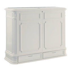 Crystal Pointe XL White TV Lift Cabinet - Finished on all four sides, there's no mistaking the Crystal Pointe XL White TV lift's classic design heritage with its intricately carved corner pillars, balanced proportions and finely crafted African Mahogany veneer. TV not included.