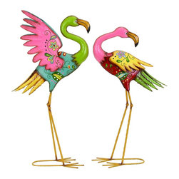 Woodland Imports - Vibrant Metal Flamingo Statues Dainty Floral Home Patio Garden Decor Set of 2 - Vibrant pair of metal flamingo statues in bold bright colors with dainty floral design accents home patio garden decor
