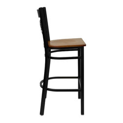 """FlashFurniture - Hercules Series  ''X'' Back Metal Restaurant Barstool - Features: -Barstool. -Black powder coated frame finish. -Heavy duty restaurant. -Black vinyl upholstered seat. -Foot rest rung. -Two curved support bars. -""""X"""" Back design. -18 Gauge steel frame. -0.75"""" thick plywood seat. -CA117 Fire Retardant Foam. -Designed for Commercial Use; Suitable for Home Use. Dimensions: -Seat: 16.75"""" W x 16.5"""" D. -Back: 13.25"""" H x 15"""" W. -Overall: 42.25"""" H x 17"""" W x 18"""" D, 18 lbs."""