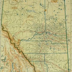 Vintage Map of Alberta, Canada, 1917 - Original detailed map of Alberta, Canada with rivers, lakes, railroads in red with ownership and towns. American color lithograph from 1917.