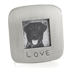 """Love 1.75"""" Square Frame - Mini frame in metal brushed nickel highlights a photo with one simple word, """"love"""", to say volumes about the one you cherish."""