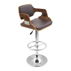 """LumiSource - Fiore Barstool in Walnut / Brown - Modern bent wood design combined with plush seating create a stylish stool perfect for any kitchen or bar. The hydraulic chrome support post allows for height adjustment. Features: -Barstool. -Material: Wood / Leather. -Walnut bent wood back and armrests. -Padded Brown leatherette seat. -Polished Chrome base, pole and footrest. -Adjustable height hydraulics. Dimensions: -Seat height: 27"""" - 32"""". -Seat size: 19.8"""" W x 19"""" D. -: 37"""" - 42"""" H x 19"""" W x 20"""" D, 26 lbs."""
