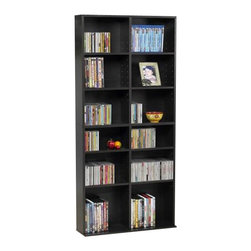 Atlantic Inc - Atlantic Inc Oskar Media Cabinet 464 CD or 228 DVD in Espresso - Atlantic Inc - CD and DVD Media Storage - 38435719 - Atlantic Inc. brings you innovative media storage solutions for your home and portable needs. Curved accents offer stylish approach to multimedia storage. Adjustable shelves provide maximum flexibility to store a variety of media types. Uniquely designed extended base provides extra stability. Specially designed fixed middle shelf promotes the structural integrity of the unit. Deep shelves allow for display of decorative accessories in addition to media. Functional and contemporary style made for all decors.
