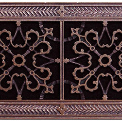 "Beaux-Artes, Ltd - Arts & Crafts style decorative grille, vent, grate or register, Rubbed Bronze, 8 - HVAC Grille made to fit over a 6"" x 24"" duct. Beaux-Artes is the leading manufacturer of historic reproduction grilles made to replace unattractive louvered grilles, registers, vent covers, air return grilles, air return vent covers, and filter grilles found in forced air HVAC systems, as well as decorative covers for in the wall or ceiling speakers, foundation vents, radiator covers and T-Bar ceiling grilles."