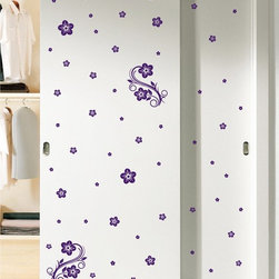 StickONmania - Sliding Doors Vinyl Sticker #82 - These decals come with two of each element mirrored, you choose how to place them.A vinyl decal sticker that lets you choose how to decorate. Decorate your home with original vinyl decals made to order in our shop located in the USA. We only use the best equipment and materials to guarantee the everlasting quality of each vinyl sticker. Our original wall art design stickers are easy to apply on most flat surfaces, including slightly textured walls, windows, mirrors, or any smooth surface. Some wall decals may come in multiple pieces due to the size of the design, different sizes of most of our vinyl stickers are available, please message us for a quote. Interior wall decor stickers come with a MATTE finish that is easier to remove from painted surfaces but Exterior stickers for cars,  bathrooms and refrigerators come with a stickier GLOSSY finish that can also be used for exterior purposes. We DO NOT recommend using glossy finish stickers on walls. All of our Vinyl wall decals are removable but not re-positionable, simply peel and stick, no glue or chemicals needed. Our decals always come with instructions and if you order from Houzz we will always add a small thank you gift.
