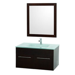 "Modern Bathroom - Genoa 36"" Wall Mount Single Bathroom Vanity Set - Espresso - Stylish and functional, the Genoa Wall Mount Bathroom Vanity Set has features you'll adore like soft-close doors, a glass counter with integrated sink for a clean look, matching mirror, and a modern single-hole faucet mount. All you need to do is pick your favorite faucet! The Genoa Wall Mount Bathroom Vanity is available in multiple sizes. Features Includes bathroom vanity Includes glass counter with integrated sink Includes mirror Soft-close doors 2 doors Single-hole faucet mount Faucet not included but available How to handle your counter Spec Sheet for Claire Rotating Wall Cabinet with mirror (WC-B802) Spec Sheet for Sarah Storage Cabinet (WC-B803) Spec Sheet for Accara Bathroom Wall Cabinet (WC-B805) Spec Sheet for Maria Bathroom Wall Cabinet (WC-B807) "" target=""_blank"" class=""pdf"">Installation Instructions -->"