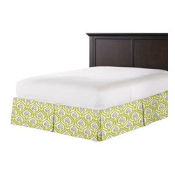 Lime Artichoke Custom Bed Skirt - With clean lines and crisp pleated sides and corners, our Tailored Bedskirt is the classic finishing touch for the sharp dressed bed.  We love it in this preppy modern print of lime green and gray artichokes and damask-like scrolls.