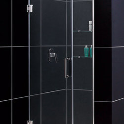 DreamLine - DreamLine SHDR-20397210S-01 Unidoor 39 to 40in Frameless Hinged Shower Door, Cle - The Unidoor from DreamLine, the only door you need to complete any shower project. The Unidoor swing shower door combines premium 3/8 in. thick tempered glass with a sleek frameless design for the look of a custom glass door at an amazing value. The frameless shower door is easy to install and extremely versatile, available in an incredible range of sizes to accommodate shower openings from 23 in. to 61 in.; Models that fit shower openings wider than 31 in. have an adjustable wall profile which allows for width or out-of-plumb adjustments up to 1 in.; Choose from the many shower door options the Unidoor collection has to offer for your bathroom renovation. 39 - 40 in. W x 72 in. H ,  3/8 (10 mm) thick clear tempered glass,  Chrome, Brushed Nickel or Oil Rubbed Bronze hardware finish,  Frameless glass design,  Width installation adjustability: 39 - 40,  Out-of-plumb installation adjustability: Up to 1 in. one side (total 1 in.),  Self-closing solid brass wall mount hinges,  Stationary glass panel with two glass shelves,  Door opening: 26 in.,  Stationary panel: 12 in.,  Material: Tempered Glass, Aluminum