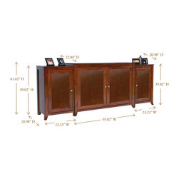 """Berkeley TV Lift Cabinet with Side Cabinets For Flat Screen TV's Up To 55"""" - The Berkeley is constructed with clean and simple design features in mind and finished in a rich medium cherry wood. The Berkeley turns heads and makes any living room, entertainment area, den or man cave really stand out."""