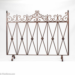 Bronze Iron Fireplace Screen with Bronze Medallions - Bronze Iron Fireplace Screen with Bronze Medallions