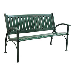 Innova Hearth & Home - Dark Green Contempo Bench - Liven up your patio or yard with this colorful bench that features a rust-free cast aluminum frame, a breathable slatted design and a contemporary profile.   Weight capacity: 500 lbs. 50.75'' W x 32'' H x 24.25'' D Seat: 15.5'' H Aluminum / steel Assembly required Imported