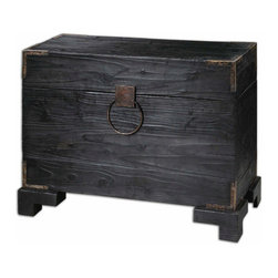 Uttermost - Uttermost Carino 41x17 Rectangular Wooden Trunk Table - Generous Storage inside Black Satin, Solid Fir Wood with Natural Knots and Deep Grains, and Copper Brown Metal Accents. Non-latching Top with Safety Hinges.