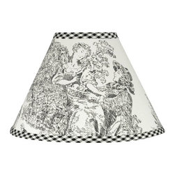 Sweet Jojo Designs - Black Toile Lamp Shade - Black Toile Lamp Shade by Sweet Jojo Designs is a beautifully designed childrens lamp shade that is made to fit small desk-sized lamp bases (base not included).  The lampshade attaches securely on the lamp's light bulb socket and the light bulb is twisted in through the opening at the top.Lamp Shade Dimensions: 4x7x10