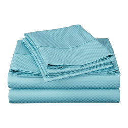 "Cotton Rich 800 Thread Count Microchecker Sheet Set - King - Teal - Dress up your bedroom decor with this luxurious 800 thread count Cotton Rich microchecker sheet set.  These sheets are made of a superior quality blend of 55% Cotton and 45% Polyester making them soft, wrinkle resistant, and easy to care for. Set includes: (1) Fitted Sheet 78""x80"", (1) Flat Sheet 108""x102"", (2) Pillowcases 20""x40"" each."